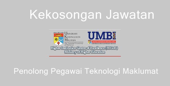 Jawatan Kosong Penolong Pegawai Teknologi Maklumat UKM   Jawatan Kosong: Penolong Pegawai Teknologi Maklumat FA29  Projek The Malaysian Cohortyang berurusetia diInstitut Perubatan Molekul UKM (UMBI)merupakan satu projek penyelidikan kebangsaan. Kami menjemput anda warganegara Malaysia berumur 18 tahun dan ke atas yang berkelayakan untuk mengisi kekosongan jawatan berikut:  JAWATAN:PENOLONG PEGAWAI TEKNOLOGI MAKLUMAT FA29 (1 KEKOSONGAN)TARAF JAWATAN:KONTRAKTARIKH IKLAN:24 MEI 2017 (KEPERLUAN…