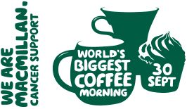 We are Macmillan. Cancer support. Worlds biggest coffee morning. 25th September.