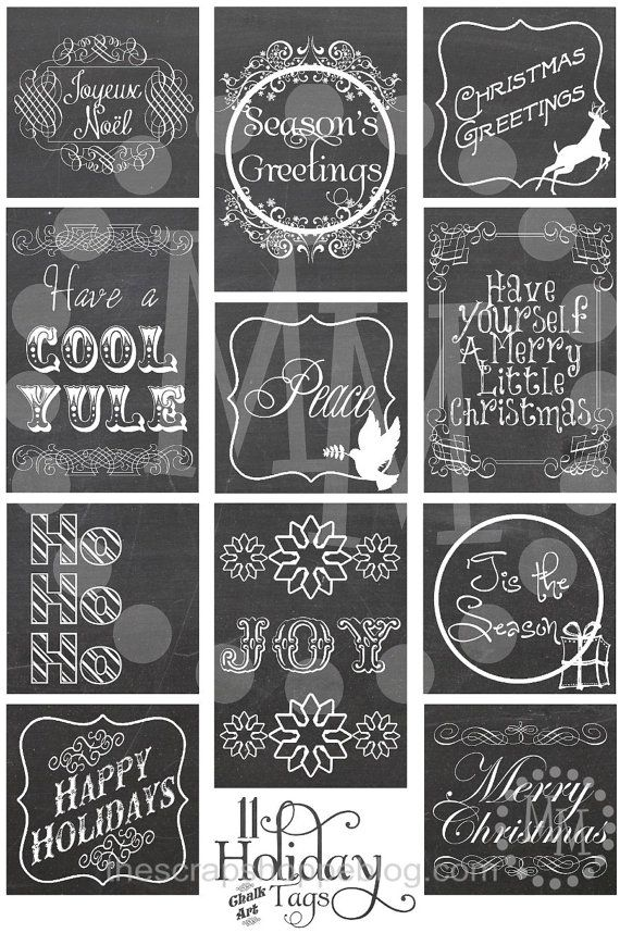 Christmas Chalkboard Gift Tags Printable by MMScrapShoppe on Etsy