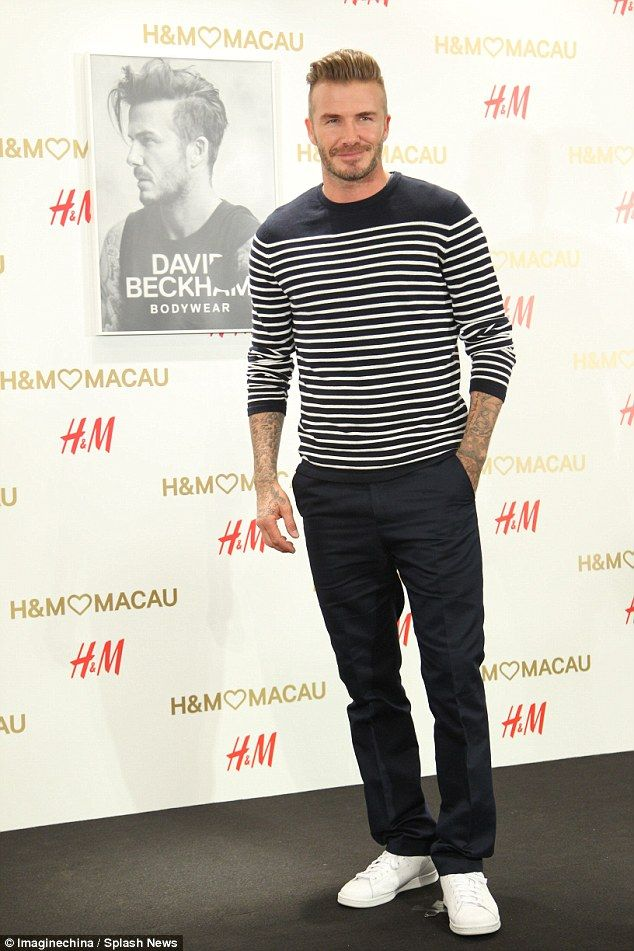 Dapper gent: David Beckham looked fresher than ever as he attended the opening ceremony for a new H&M store in Macau, China, on Saturday afternoon