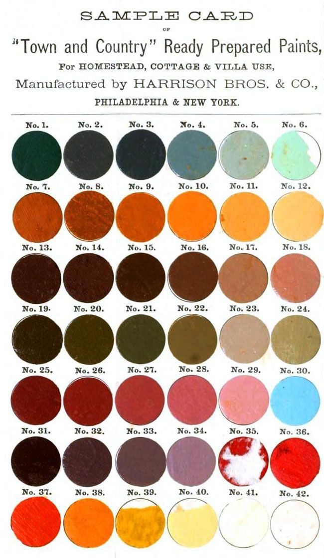 Town and Country paint colours, 1872.Colors Charts, Painting Samples, Colors 1872, Colors Samples, Vintage Colors, Colors Palettes, Painting Colours, Paint Colors, Country Painting Colors