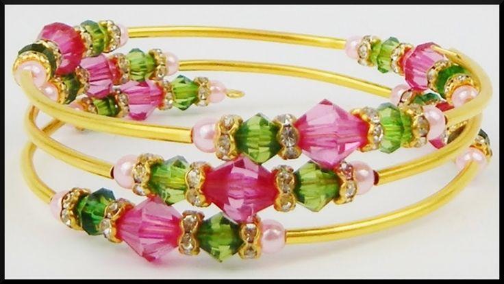DIY   Perlen Draht Armband   Schmuck basteln   Beaded Memory wire bracelet with bicones