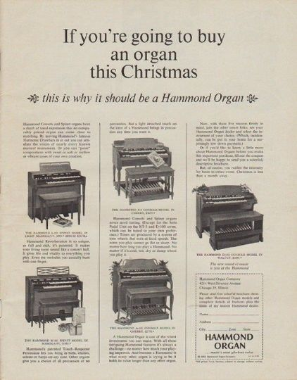 "1963 HAMMOND ORGAN vintage magazine advertisement ""this Christmas"" ~ If you're going to buy an organ this Christmas ... this is why it should be a Hammond Organ ... * The Hammond L-102 Spinet Model * The Hammond M-101 Spinet Model * The Hammond B-3 Console Model * The Hammond A-102 Console Model * The Hammond D-152 Console Model * ... The new sound of music is you at the Hammond ~"