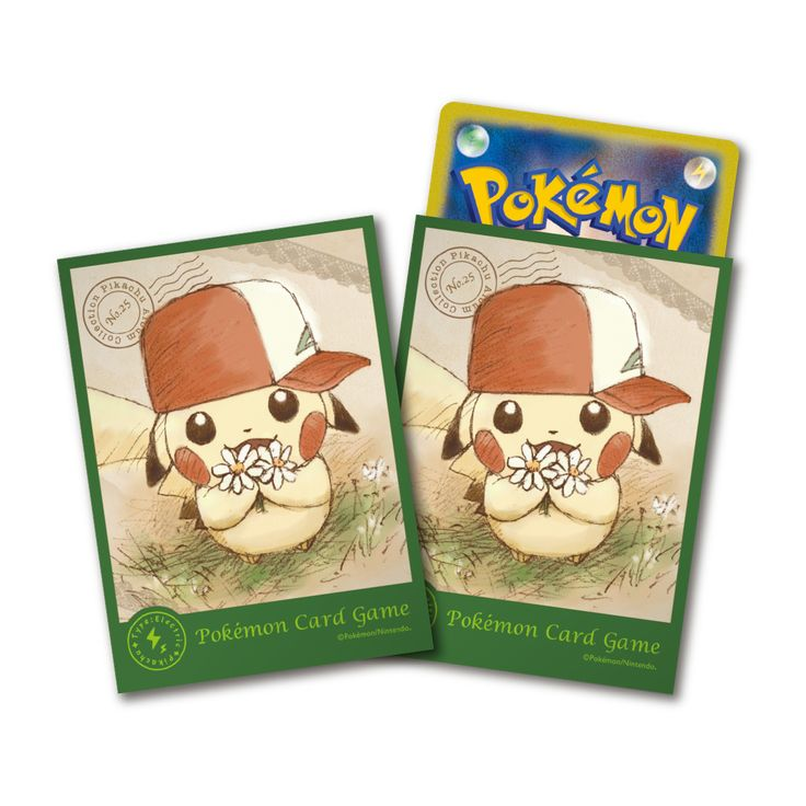 Pokemon Center Japanese Card Sleeves - Pikachu with Ash's Hat Deck Shield 64 Count