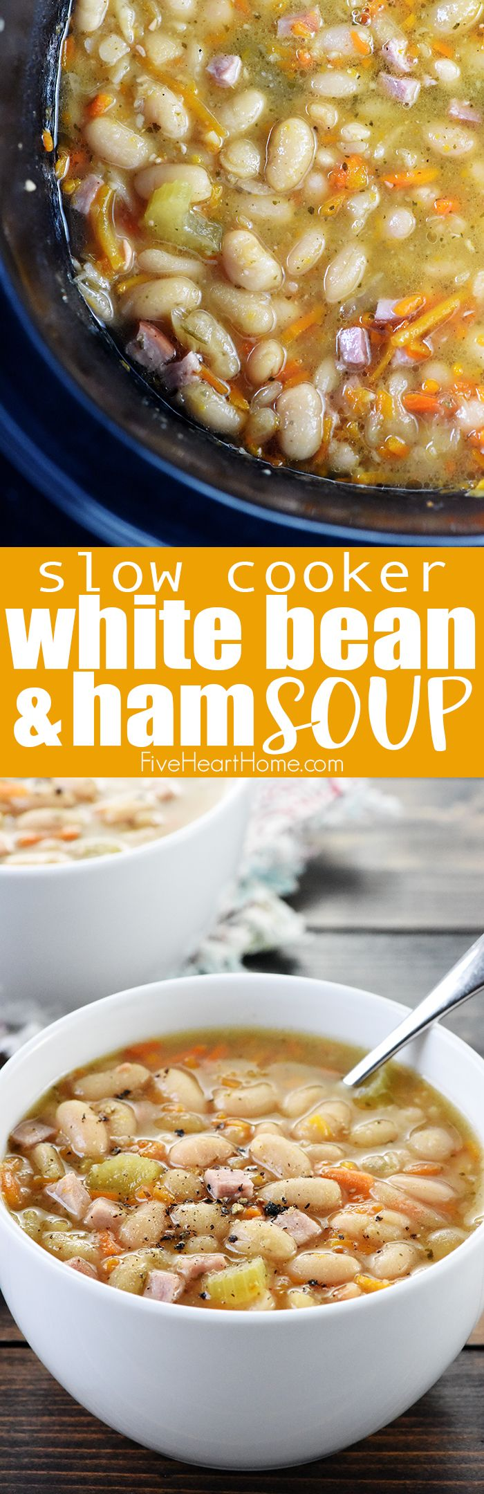 Slow Cooker White Bean & Ham Soup is a hearty, wholesome, comforting crock pot recipe that's perfect for using up leftover holiday ham! So are y'all ready for the big day? I hit the grocery store ear