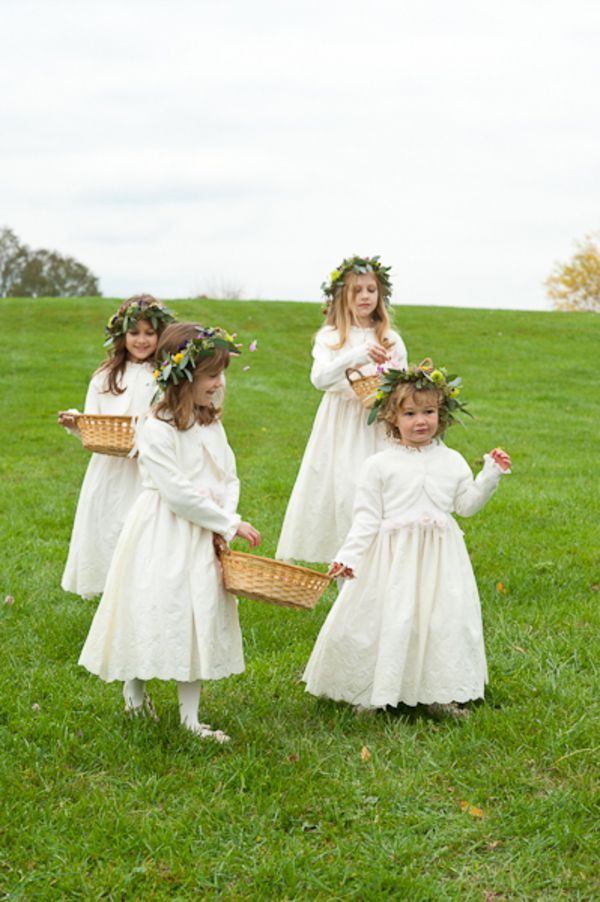 Country Chic Flower Girls At  A Farm Wedding
