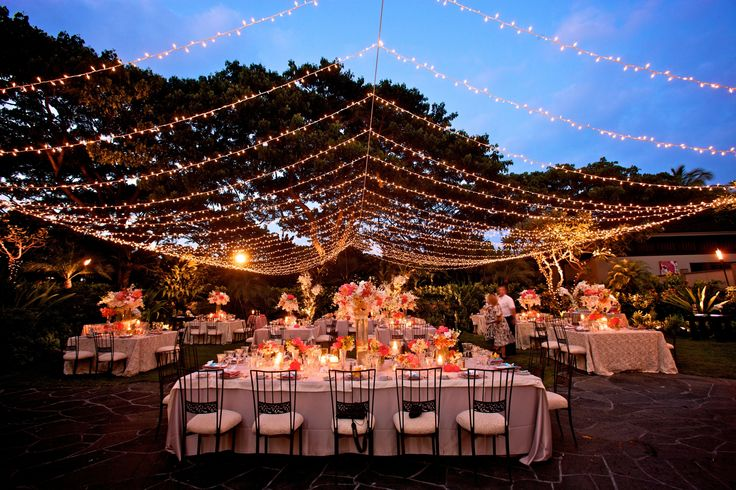 Twinkle light canopy at night Garden Lawn - Four Seasons Resort Hualalai Weddings & 236 best Hawaii  VENUES  images on Pinterest | Wedding ...