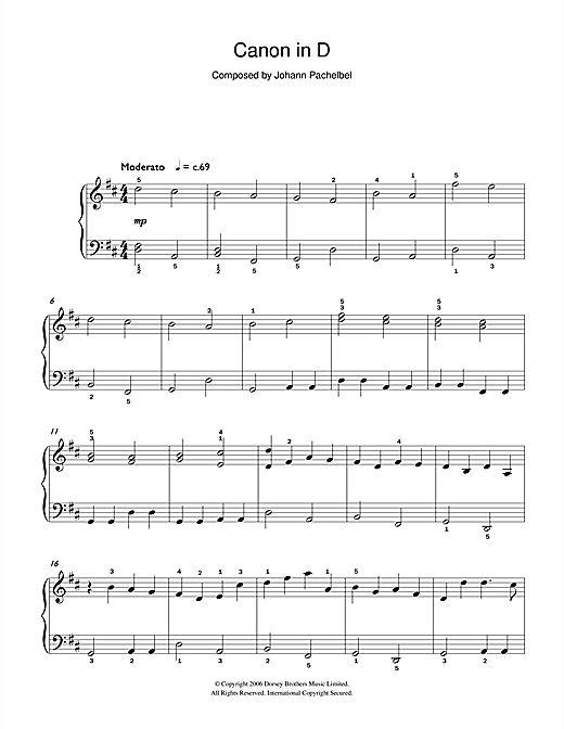 Pachelbel's Canon in D Major Sheet Music