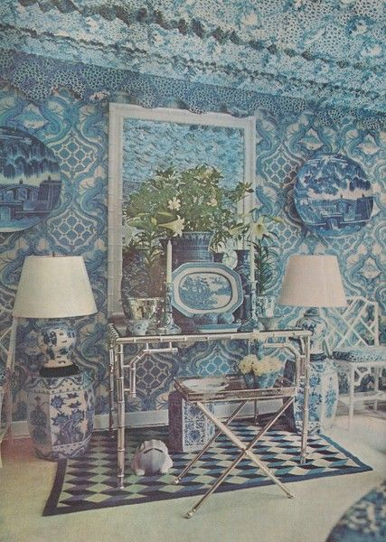 Oscar de la Renta's home from the 70's - wonderful inspiration on displaying blue and white Chinese porcelain.