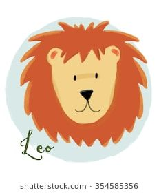 cute illustration of zodiac signs, Leo horoscope, children's illustration