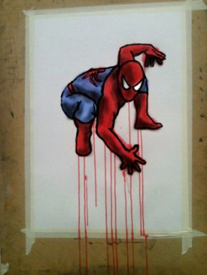 Spiderman Crouch 2. Acrylic on Cartridge Paper with digital on top by Chelsie Cater-Tooby