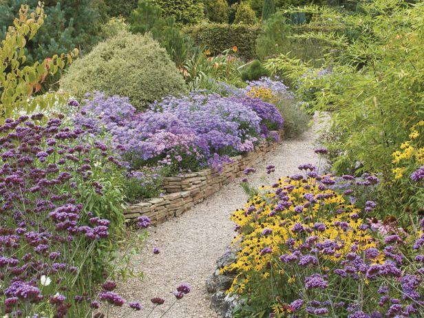 Cottage Garden: Cottages Gardens, Stones Wall, Gardens Paths, Gardens Galleries, Purple Pathways, Stones Paths, Color Purple, Flower Beds, Wall Beds