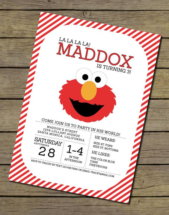 112 best sesame street party images on pinterest sesame street elmo invitation elmo invite elmo birthday party invitation filmwisefo Choice Image