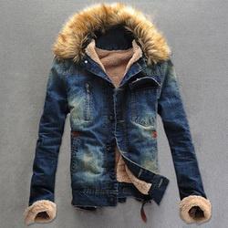 Mens denim jacket with fur hood