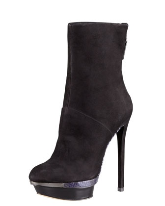 Platform Stiletto Boot by B Brian Atwood. Loving the snake-embossed sole.
