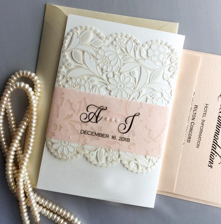 lace wedding invitation wrap%0A Personalized pearl floral lace laser cut pocket tri folding printed vellum  band pearl drop rose gold glitter liner Wedding Invitation by  IvoryInvitations on