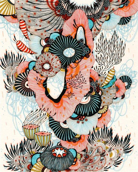 Giclee Fine Art Print  impression de Watercrest  8 x 10 par yellena, $20.00                                                                                                                                                                                 Plus