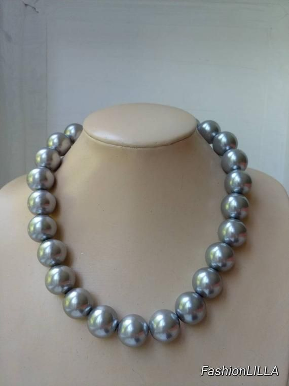 Large Gray Glass Pearl Bracelet 8 Inches with Matching Post Earrings
