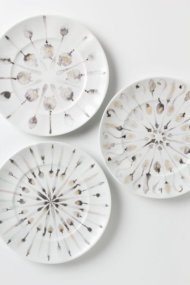 Porceleinen servies beschilderd met acryl inkt van Bridget Davies voor #Anthropologie.