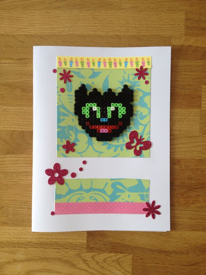 Toothless (snusk/ tannløs) of Hama (perler) on happy birthdaycard