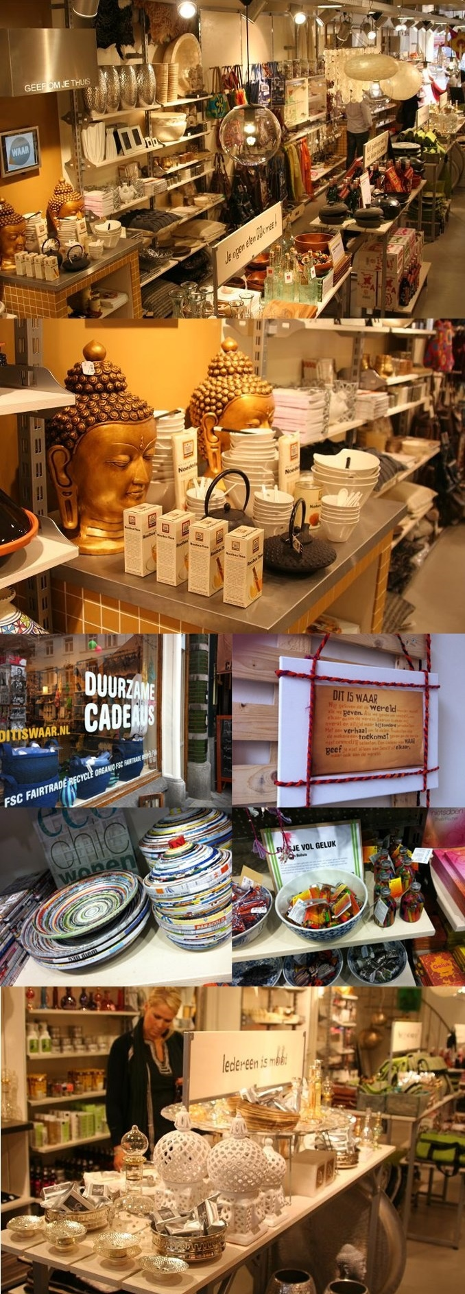 WAAR, a gift shop in Amsterdam with durable, foreign or recycled fair trade products. You'll always find here a good present (heiligeweg 45) http://www.ditiswaar.nl/