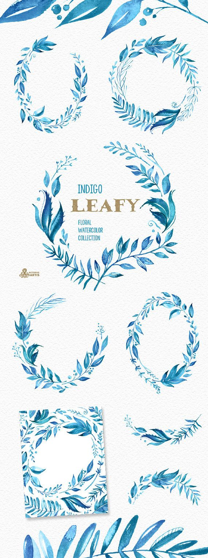 Grünen Indigo. Aquarell Blumen Kränze, Zweige, Blätter, Rahmen, blaue Tinte, Hochzeitseinladung, Grußkarte, diy Cliparts, Blatt