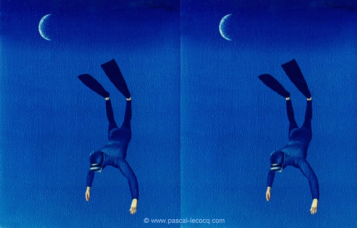 """OLYMPIC GAMES 2012, Aug 1st: Diving Men's Synchronised 3m Springboard final  pic: """"CROISSANTS""""- Crescents - oil on canvas by Pascal Lecocq, The Painter of Blue ®, 91/2""""x71/2"""" 24x19cm, 1995, lec403 Lisieux, France © www.pascal-lecocq.com."""