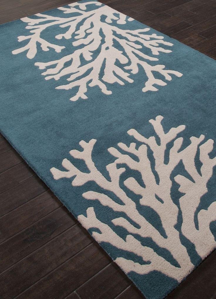 Coastal Seaside Coral Rug Atlantic Blue Wool The