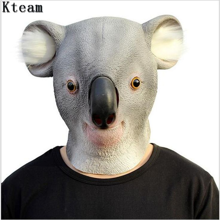 Koala Head Latex Mask Full Face Adult Mask Breathable Halloween Masquerade Fancy Dress Party Cosplay Costume Lovely Animal Mask