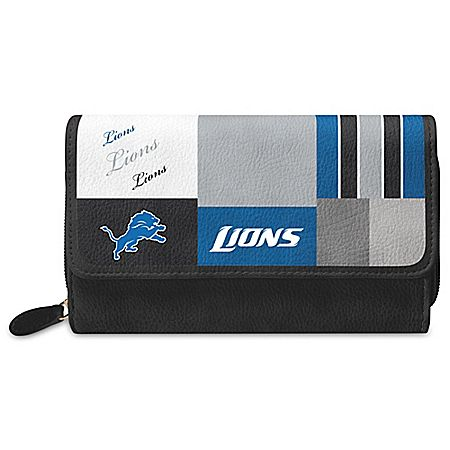 For The Love Of The Game NFL Detroit Lions Patchwork Wallet