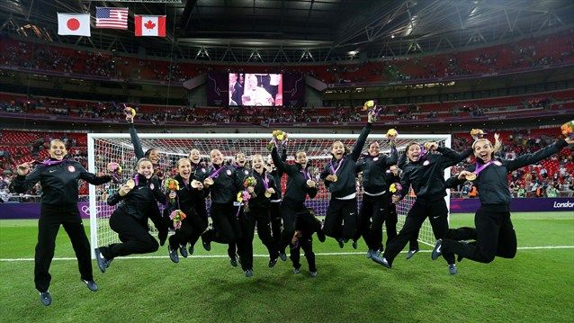 U.S.A. Women's Soccer team celebrate their gold medal defeating Japan 2-1 in the London Olympics at Wembley Stadium (2012)
