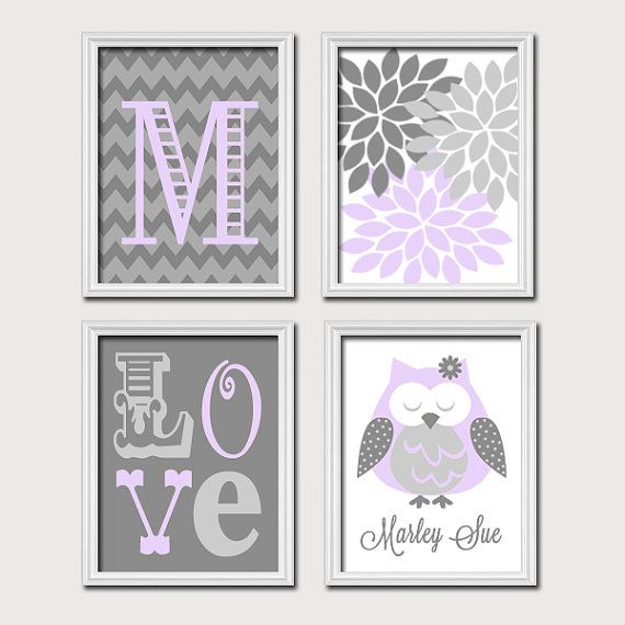 Customizable - Lilac Gray Nursery OWL Wall Art Baby Girl Nursery by TRMdesign