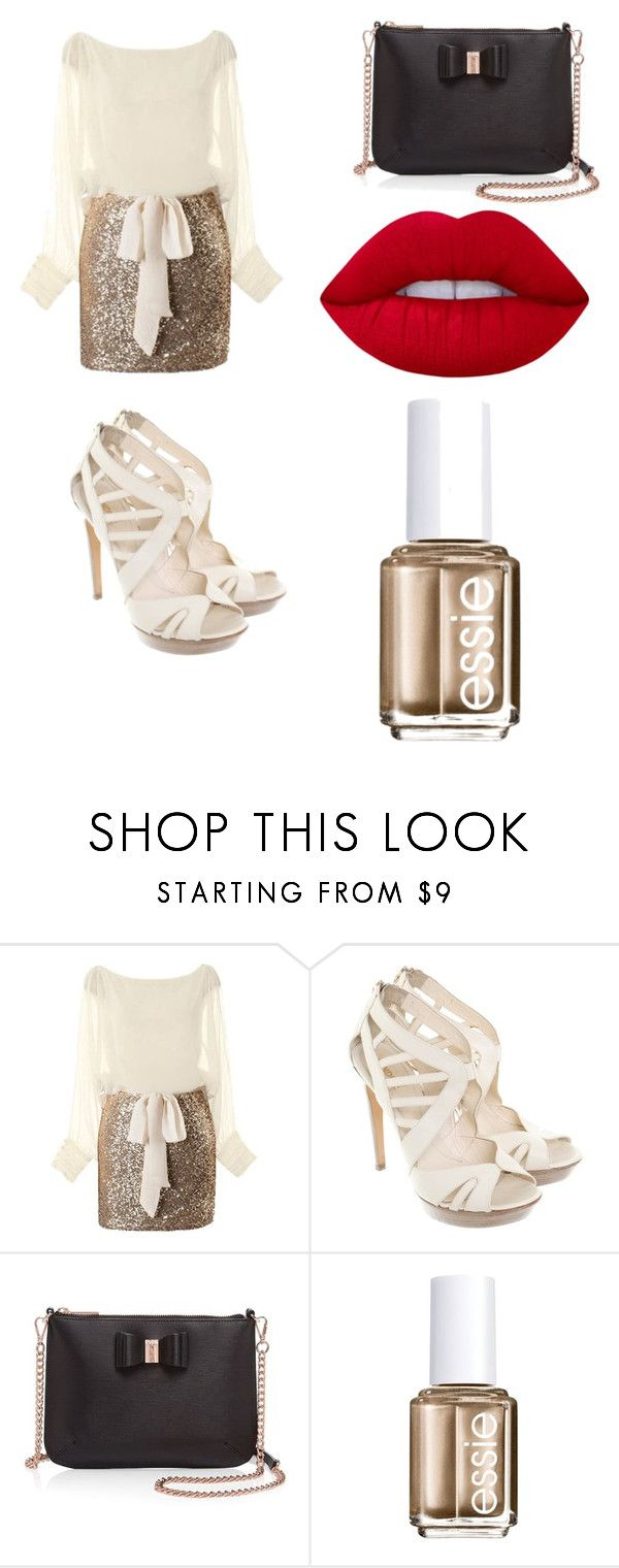 """""""Christmas Eve outfit"""" by lulu7899-1 ❤ liked on Polyvore featuring Fendi, Ted Baker, Essie and Lime Crime"""