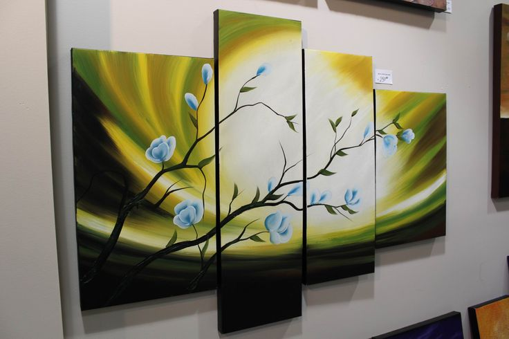 Green Aurora Landscape Textured Painting, Modern Abstract Floral Art, Green White Flower Blossom Tree on Large Canvas by Studio Mojo Artwork. http://www.studiomojoartwork.com/pages/testimonials