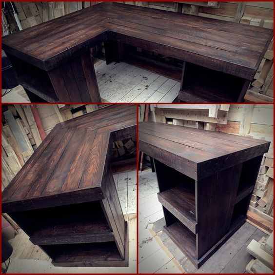 Reclaimed Wood Rustic Home Office: Corner Office Desk With Open Shelves, Recycled Pallet Wood