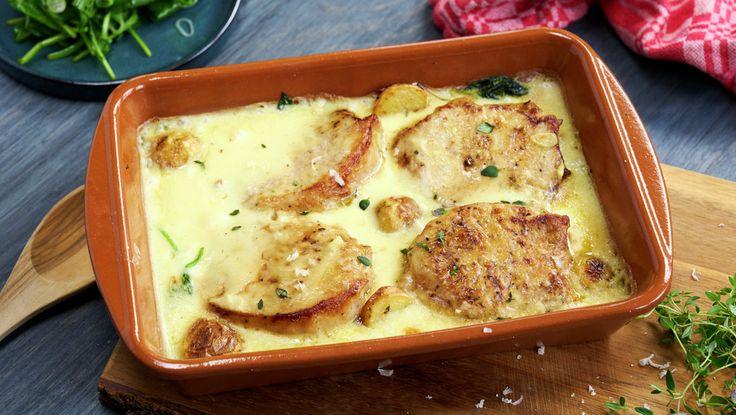 Svinebiff med parmesan- og hvitløkssaus