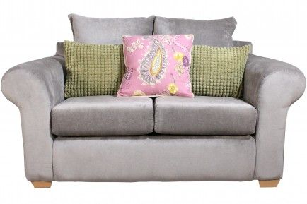 Two Seater in Rogers Light Grey with Paris Candyfloss & Bobble Green scatter cushions.