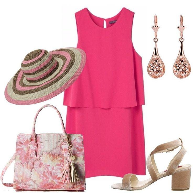 Uno splendido vestito in una tonalità particolare di rosso, corto, scollo tondo, senza maniche, motivo di pannello mosso da pieghe, chiuso con bottoni, sandalo beige, tacco largo, splendida borsa rosa in fantasia floreale, doppi manici, tracolla, nappine, cappello da sole in paglia multicolore, orecchini pendenti a goccia simil oro rosa.