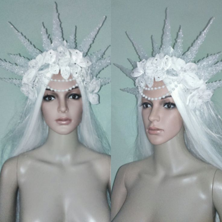 Fantasy Ice Snow Winter Spirit Queen Frozen Princess glittered headdress headpiece headband crown cosplay costume photo accessory fairytale by DeLorianCreations on Etsy