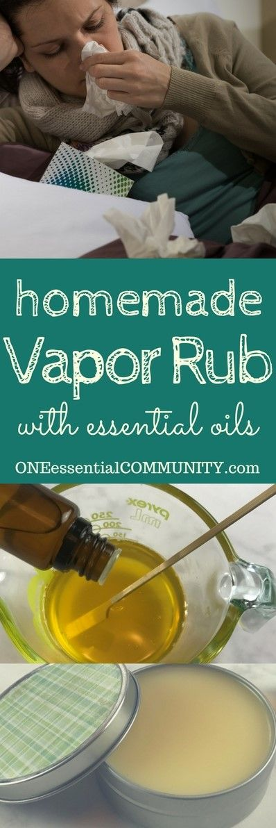 Use soy wax to make this vegan. Natural, but effective, homemade essential oil vapor rub. Temporary relief of stuffy nose and congestion, supports immune system, soothes sore muscles, temporarily supports clear breathing as it helps relax and get a good night's sleep. Plus it's easy to make with only 2 ingredients + essential oils