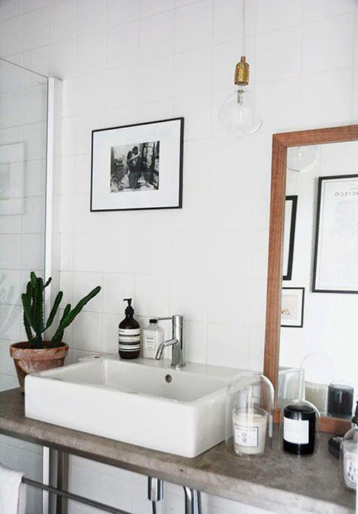 bathroom, glass, large barn sink, globe bulb pendent, black and white, concrete, white tile