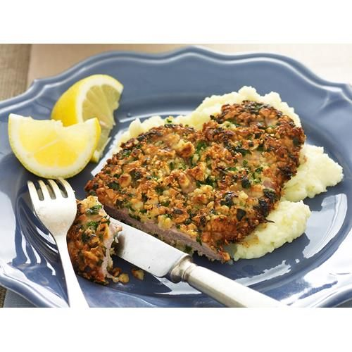Almond crusted veal schnitzel, Australian Table, Pulse almonds in a food processor until coarsely chopped, but not a paste.