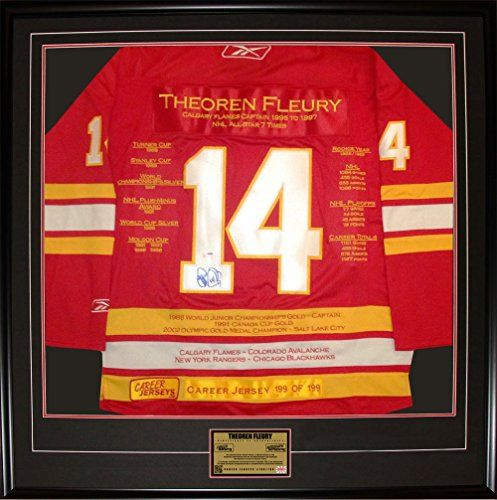 Theoren Fleury Framed Career Jersey - Autographed - Ltd Ed 199 - Calgary Flames >>> Learn more by visiting the image link.