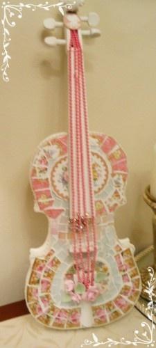104 best broken bits mosaics images on pinterest mosaic for Violin decorating ideas