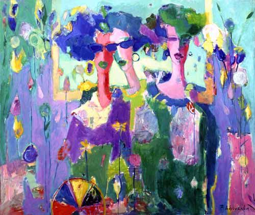 Trzy kobiety - Z piłką | Three women - With ball;  oil on canvas, 80x100 cm, signed: B.Wąsowska; © Beata Wąsowska, 1994 [nr kat. 14-01]