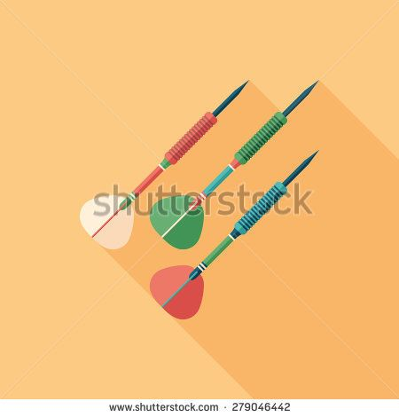 Colorful darts flat square icon with long shadows. #sport #sporticons #flaticons #vectoricons #flatdesign