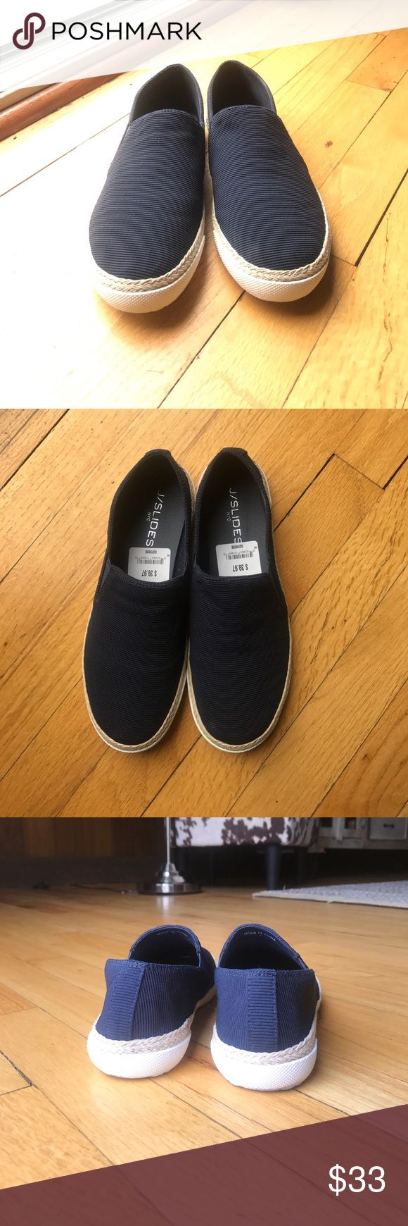 J/Slides Navy Slip Ons. Brand new, worn once! J/Slides navy slip on shoes, super comfortable and great for walking! These have only been worn once for a couple of hours so the only thing wrong with them is some dirt on the bottom. I bought them from Nordstrom Rack. They just didn't quite fit me right and since I wore them out, the store wouldn't take them back. I bought these yesterday, so please no low-ball offers! Thank you! J/SLIDES Shoes Flats & Loafers