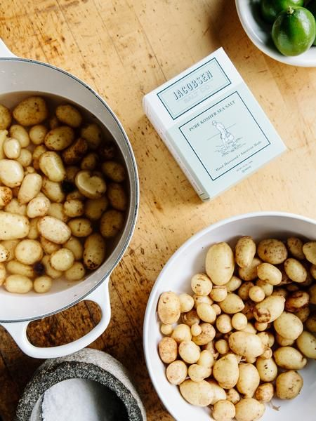 Chef April Bloomfield's Jacobsen Salt-Crusted Potatoes with Herbed Vinegar Chef April Bloomfield holds Michelin Stars at two restaurants: The Spotted Pig and The Breslin Bar and Dining Room in NYC. She is one of our original chef supporters and it has been an honor to work with her. You can find this recipe on the side of some of our 1lb boxes of Pure Kosher Sea Salt. INGREDIENTS: 2lbs golf ball sized Yukon Gold potatoes or similar yellow waxy skinned variety 3TBSP Jacobsen Pure Kosher ...