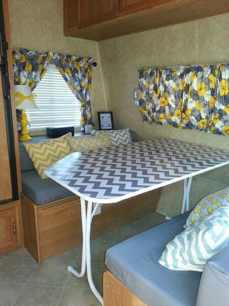 Travel trailer kitchen dinette re do- love how the chevron vinyl on the table turned out! Bought it from hobby lobby with my 40% coupon!