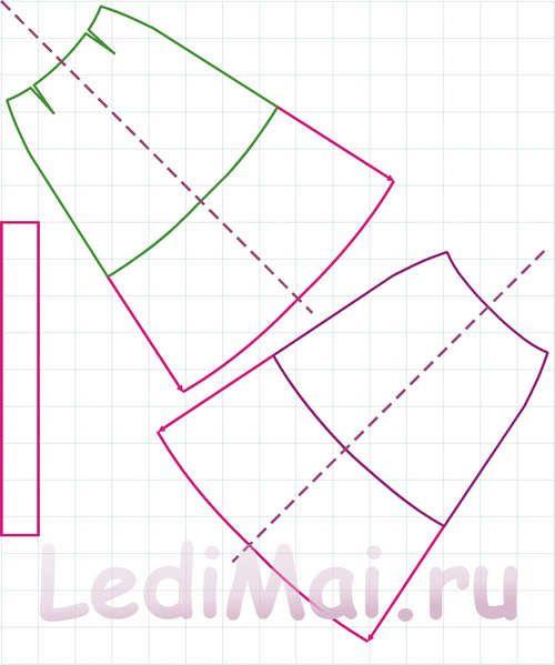 Выкройка юбки трапеция - раскладка на ткани
